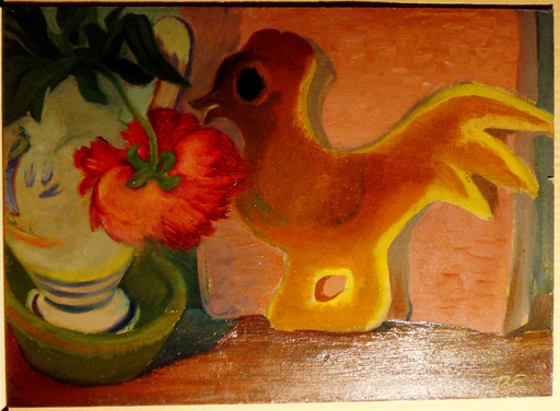 Theodore FRIED - Gemälde - Bouquet à la statuette