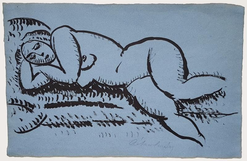 Alexej VON JAWLENSKY - Drawing-Watercolor - Liegender weiblicher Akt mit geschlossenen Augen