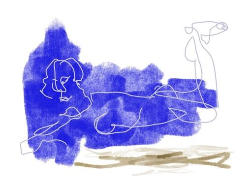Nicole LEIDENFROST - Druckgrafik-Multiple - Frau in blau