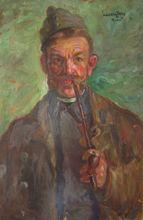 Dezsoe UDVARY - Painting - Autoportrait en soldat à la pipe