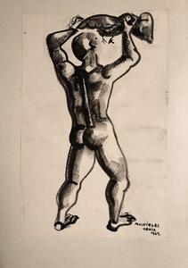 Benjamín MUSTIELES - Drawing-Watercolor - Hombre con pajaro