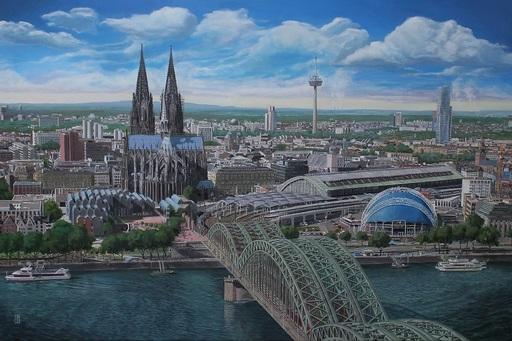 Michael GREGOR - Pittura - Die Stadt am Rhein