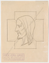 """Ferdinand OPITZ - Dibujo Acuarela - """"Project for a bas-relief"""", drawing, 1930s"""
