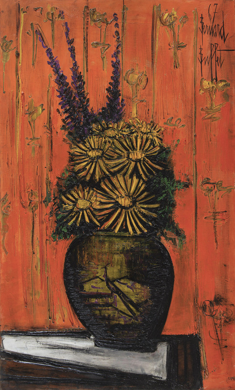Bernard BUFFET - Pittura - Bouquet au vase chinois, fond orange