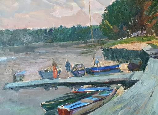 Abraham KROL - Painting - By the River