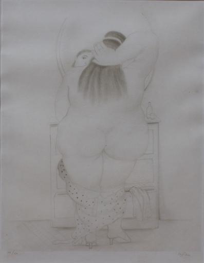 费尔南度‧波特罗 - 版画 - Mujer Frente a espejo