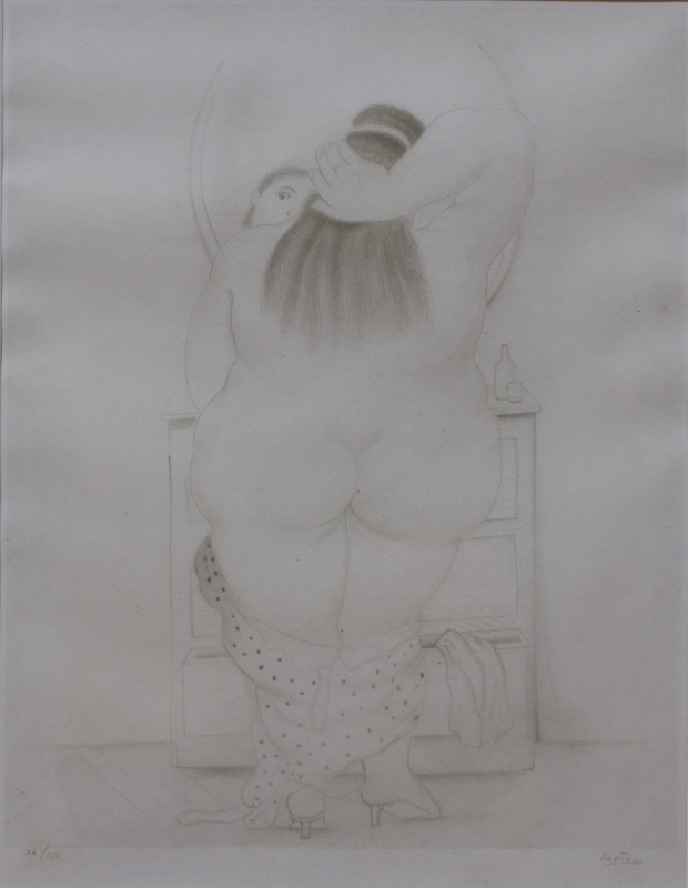 Fernando BOTERO - Estampe-Multiple - Mujer Frente a espejo