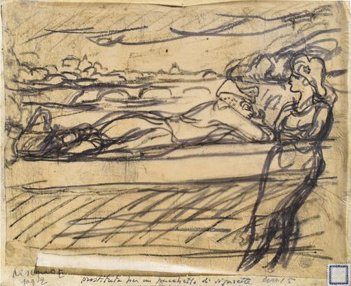 Luigi BARTOLINI - Dessin-Aquarelle - Prostituta per un pacchetto di sigarette