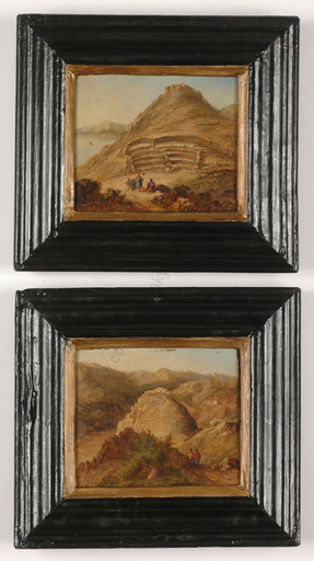 "Friedrich Otto GEORGI (Attrib.) - Miniatur - ""Eastern Views"", two oil on wood miniatures, 1850s"