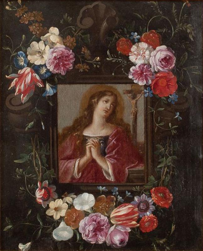 Jan I VAN KESSEL - Pittura - MARY MAGDALENE IN FLOWER BOX