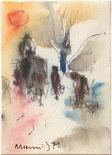 Albert HENNIG - Dibujo Acuarela - Reisende