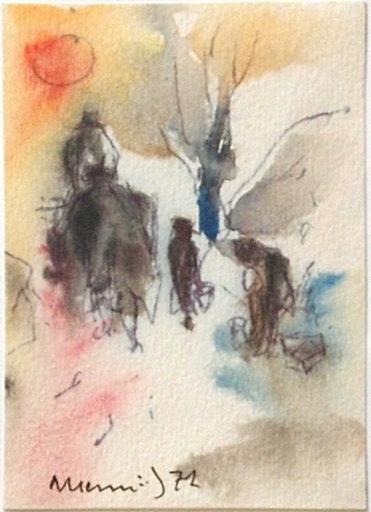 Albert HENNIG - Disegno Acquarello - Reisende
