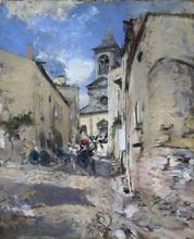 Giovanni BOLDINI - Pintura - Scena davanti alla chiesa di Sainte Anne a Châtel-Guyon. L'u