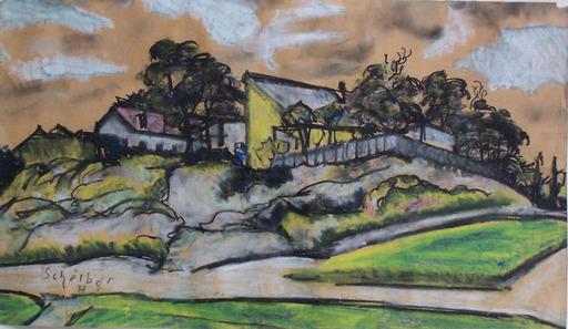 Hugo SCHEIBER - Drawing-Watercolor - Countryhouse