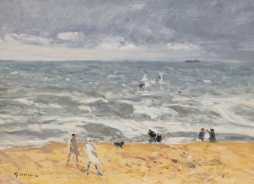 Gaston SEBIRE - Painting - Promeneurs sur la plage