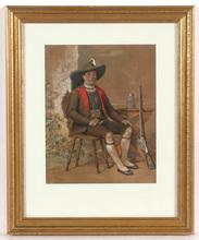"Franz SCHAMS - Dibujo Acuarela - Franz Schams (1823-1883) ""Portrait of a Tyrolean shooter"""