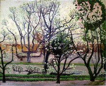 Nathalie GONTCHAROVA - Painting - Blooming magnolias -The garden in spring