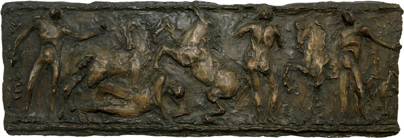 Luigi BROGGINI - Scultura Volume - Uomini e cavalli (Progetto per grande bassorilievo)