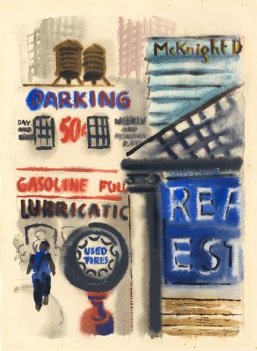 George GROSZ - Dessin-Aquarelle - New York Street, Downtown Manhattan