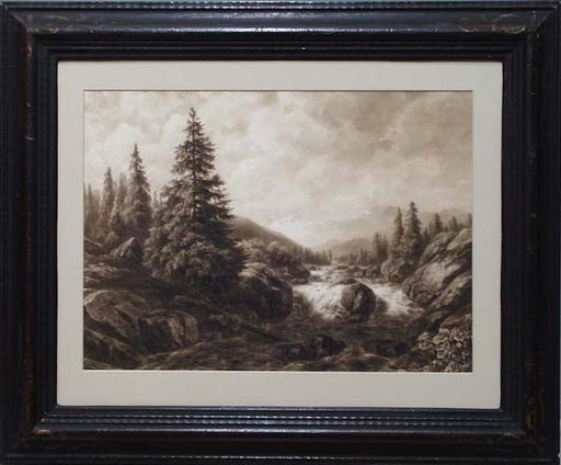 "Willem Jan VAN DEN BERGHE - Drawing-Watercolor - ""Alpine Landscape"" , late 19th Century"