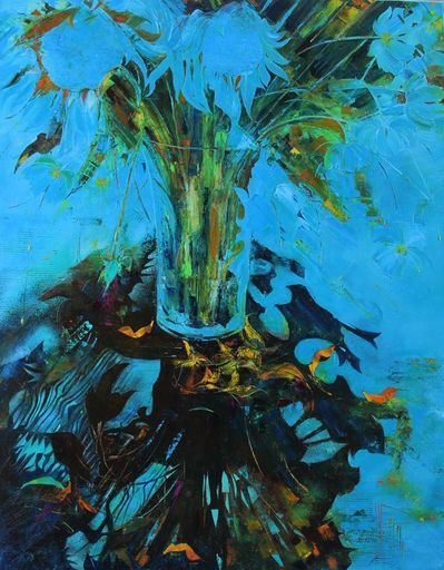 Nadine PILLON - Painting - BOUQUET D AZUR