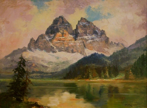 Carl KESSLER - Pintura - Alpenlandschaft