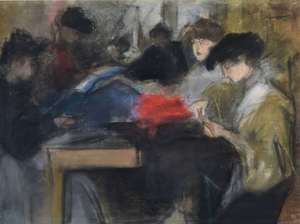 Isaac Lazarus ISRAELS - Dibujo Acuarela - Seamstress at the Paquin Studio