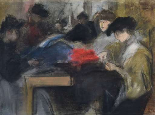 Isaac Lazarus ISRAELS - Zeichnung Aquarell - Seamstress at the Paquin Studio