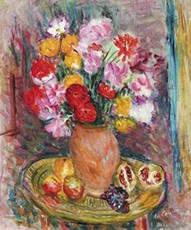 Charles CAMOIN - 绘画 - Nature morte au vase de fleurs et fruits