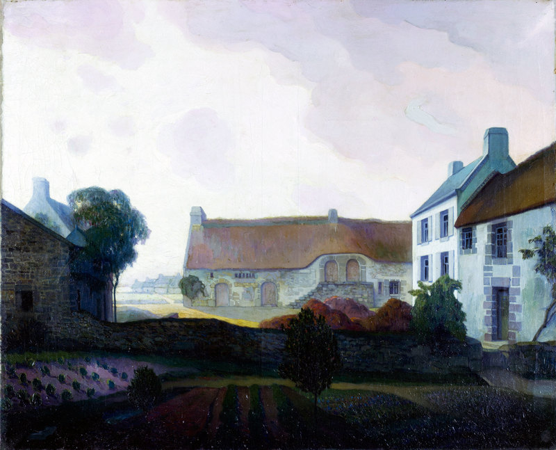 Georges DE FEURE - Peinture - Landscape with farms