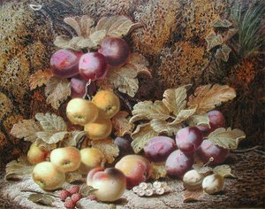 Oliver CLARE - Painting - Still Life of Plums, Apples and Peaches on a Mossy Bank