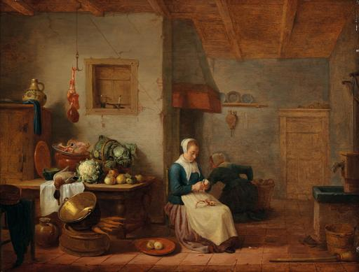 Hendrik Maertensz SORGH - Pittura - A kitchen interior with two maids