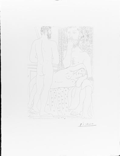 Pablo PICASSO - Estampe-Multiple - Sculpteur, Modele Couche et autoportrait en Hercule sculpte