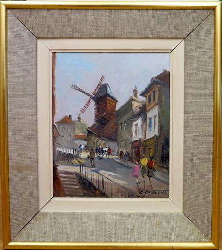 Emile LESAOUT - Peinture - Vue de Montmartre