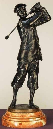 Franz BERGMANN - Escultura - Golfer Henry Vardon