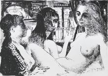 Paul DELVAUX - Grabado - Les trois femmes