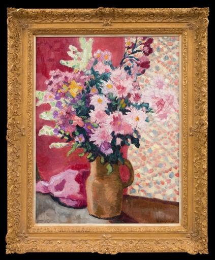 Louis VALTAT - Peinture - Fleurs Roses au Pichet en Terre