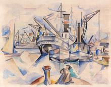 André LHOTE - Drawing-Watercolor - Le port de Bordeaux