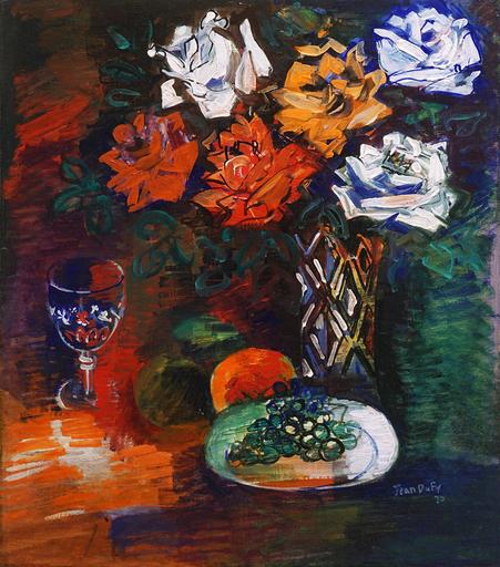 Jean DUFY - Painting - Assiette de raisins et bouquet de roses