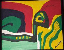 """Bengt LINDSTRÖM - Painting -  """"Tête d'aigle"""""""