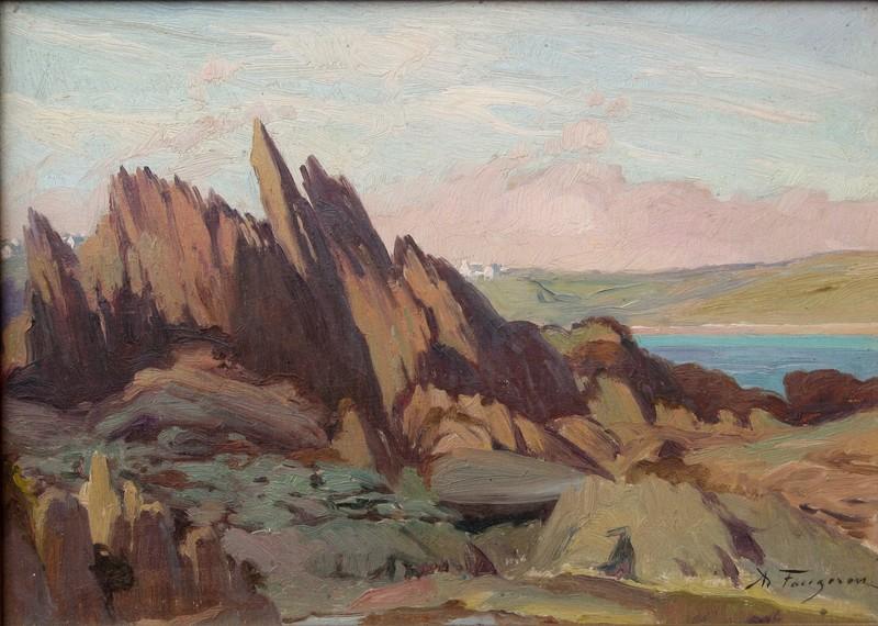 Adolphe FAUGERON - Pintura - L'ILE VERTE A LOQUIREC (BRETAGNE)
