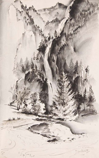 Georg MAYER - 水彩作品 - Wasserfall