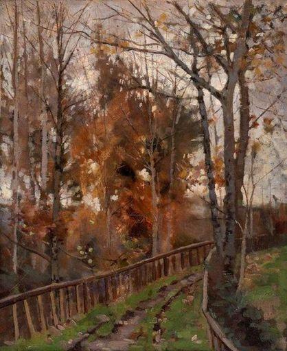 Émile JOURDAN - Gemälde - Environs de Pont Aven, chemin creux à la barrière