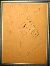 Mikhail LARIONOV - Drawing-Watercolor - Portrait of Diaghilev as a young man