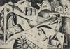 Béla KADAR - Drawing-Watercolor - Village Scene