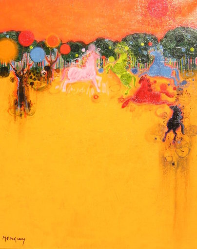 Frédéric MENGUY - Pintura - La jument rouge