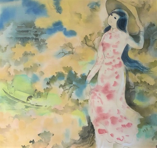 Tu DUYEN - Dibujo Acuarela - Young Lady Going to Temple