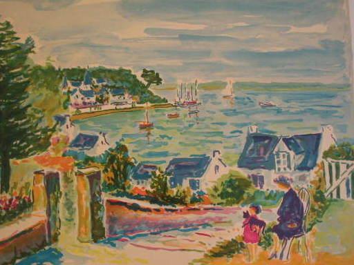 """Jean-Claude PICOT - Grabado - L'Ile aux Moines,1984""""."""
