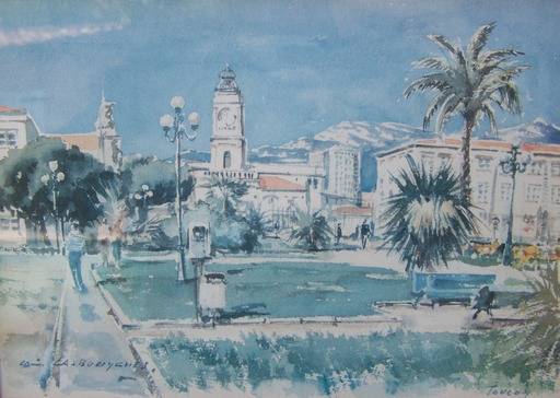 Louis LASBOUYGUES - Drawing-Watercolor - toulon