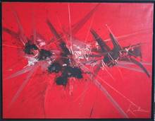 """Georges MATHIEU - Painting -  """"HOMMAGE INOUBLIABLE"""""""